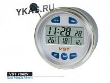 Авточасы  VST 7042 V  (ВАЗ 2106-07) вольтм,темп.наружн. и внутр.,будильн.,голубая подсв.