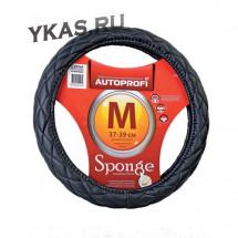 Оплетка на руль  Autoprofi  9010 BK M  черный /стеганая ,поролон 1см / кож.зам