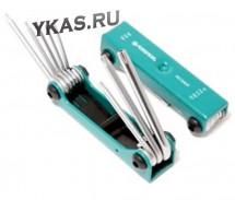 FORSAGE. Набор ключей TORX складной, 8пр. (T9, T10, T15, T20, T25, T27, T30, T40 с отверстием)