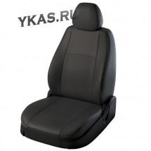 АВТОЧЕХЛЫ  Экокожа  Nissan Almera с 2013г-  черный  (цельная.)  (середина жаккард)