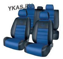АВТОЧЕХЛЫ  Экокожа тип R  Ford Focus III Ambient, Ambient Plus,Trend,SYNC с 2011г- черный-синий