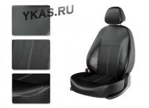 АВТОЧЕХЛЫ  Экокожа  Hyundai Creta  с 2016г- черный/черный/белый (Premium)