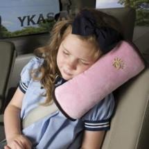 Подушка детская на ремень безопасности Розовый  (материал-флис)