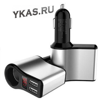 Разветвитель прикуривателя  1 выход + 2 USB , вольтметр  (металл корпус) Серый