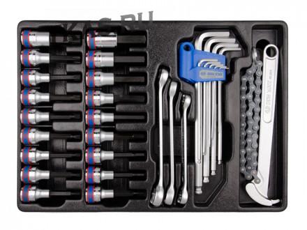 Набор торцевых насадок, шестигранники Г-образные и разрезные ключи, 31 предмет _37245