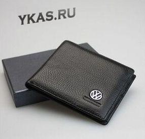 Кошелек с маркой авто (10,5*8*1,2см)  VW  черный