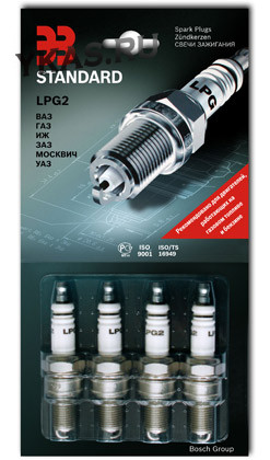 BOSCH  Свечи LPG2 (ЗАЗС) ВАЗ-2104-08,2109,21099, Г-3302,31105 (газ. оборуд.) (бл.4 шт)