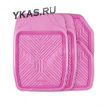"""Коврик резиновый GROOVE  4 шт.,  вырезаемые , ванночки """"розовый"""""""