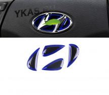 Наклейка на логотип руля  Hyundai  синий