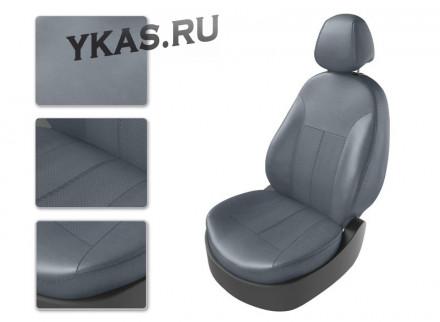 АВТОЧЕХЛЫ  Экокожа  Hyundai Solaris II  с 2017г- серый/серый/серый (Premium)