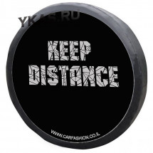 Чехол на запаску «KEEP DISTANGE», Черный/Серый, S  (d до 72см)